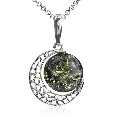 Multicolor Amber Sterling Silver Clover Pendant Necklace Chain 46 cm P035f