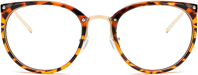 JoXiGo Rund Retro Brille Ohne Sehst/ärke f/ür Damen Herren Klar Linse Metall Brillenfassungen mit Brillenetuis Hardcase