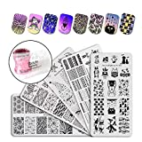 BEAUTYBIGBANG Nail Art Stamping Kit Stamper Scraper Plates Sets - 5pcs Nail Art