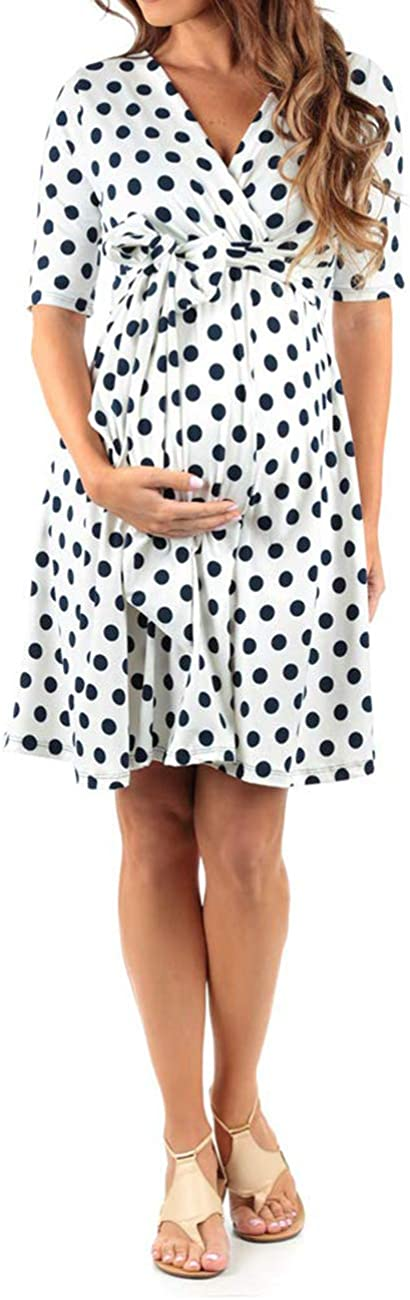 Women Maternity Dress Nursing Solid Breastfeeding Summer Soft Dress for Pregnant Wave Point Clothes