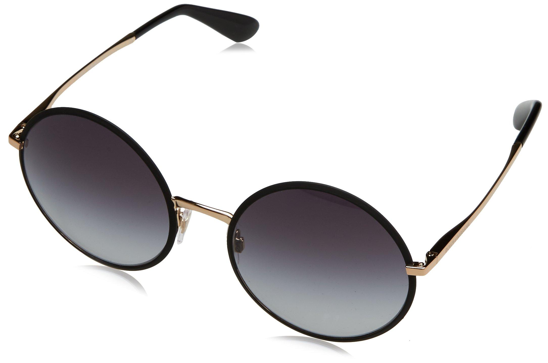 Dolce & Gabbana Women's Metal Woman Round Sunglasses, Matte Black, 56 mm