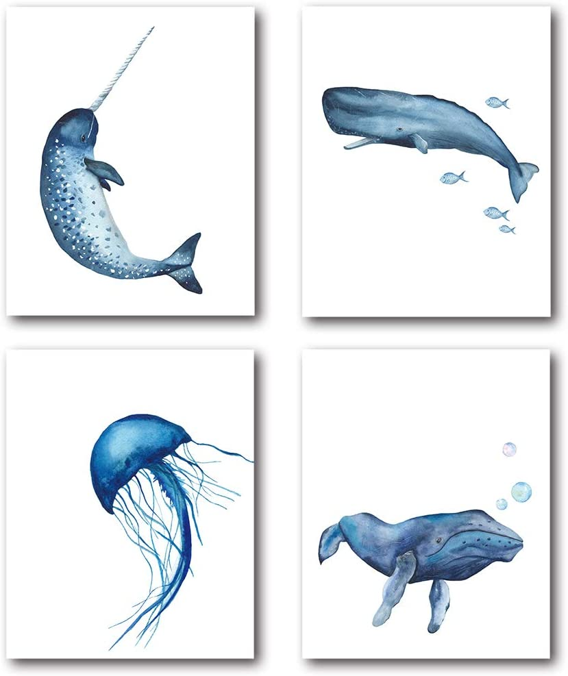 XUWELL Watercolor Ocean Animals Wall Art Prints, Narwhal Sperm Whale Jellyfish Art Painting for Kids Bathroom Nursery Decor, 8 x 10 Inch Set of 4 Prints, Unframed