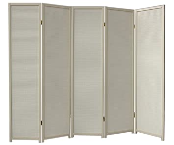 cremo wood room divider 5 panel double sided foldable privacy