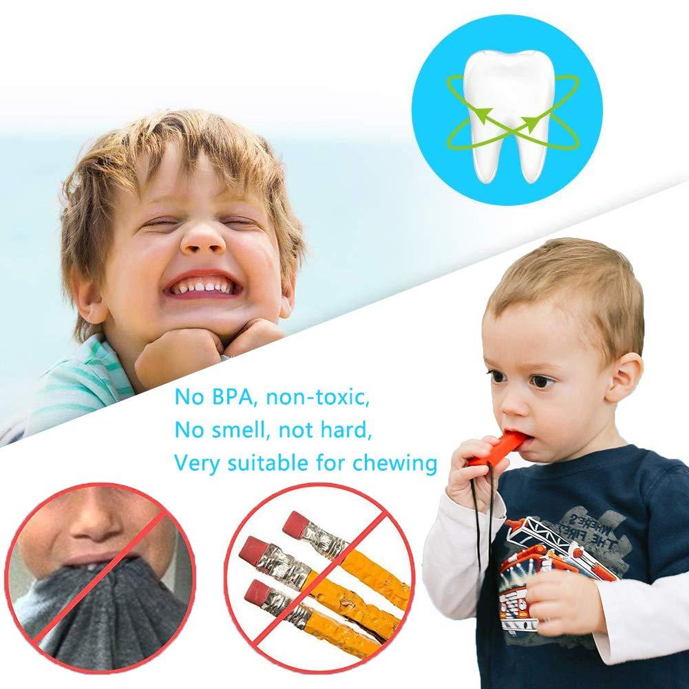 violet) 4 pcs Pendentif /à m/âcher pour autisme//TDAH//B/éb/és qui font des dents//Moteur sensoriel//Oral (Rouge vert jaune BESLIME Collier /à m/âcher