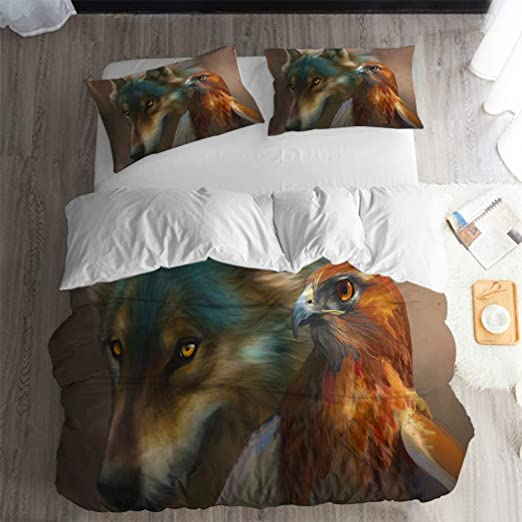 3D Love Couple Wolf Duvet Cover Bedding Set Pillow Case Animal Comforter Cover