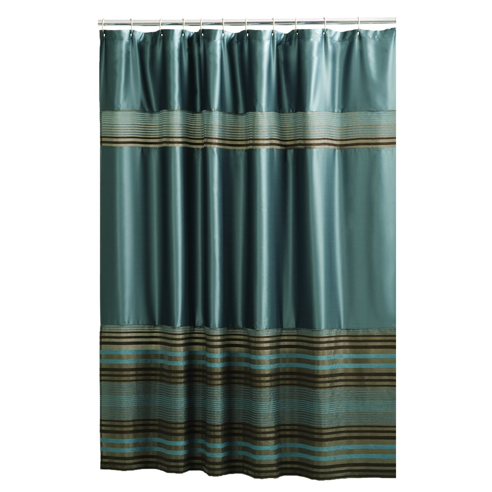 Amazoncom Maytex Mark Chenille Fabric Shower Curtain Blue Home - Brown and turquoise shower curtain