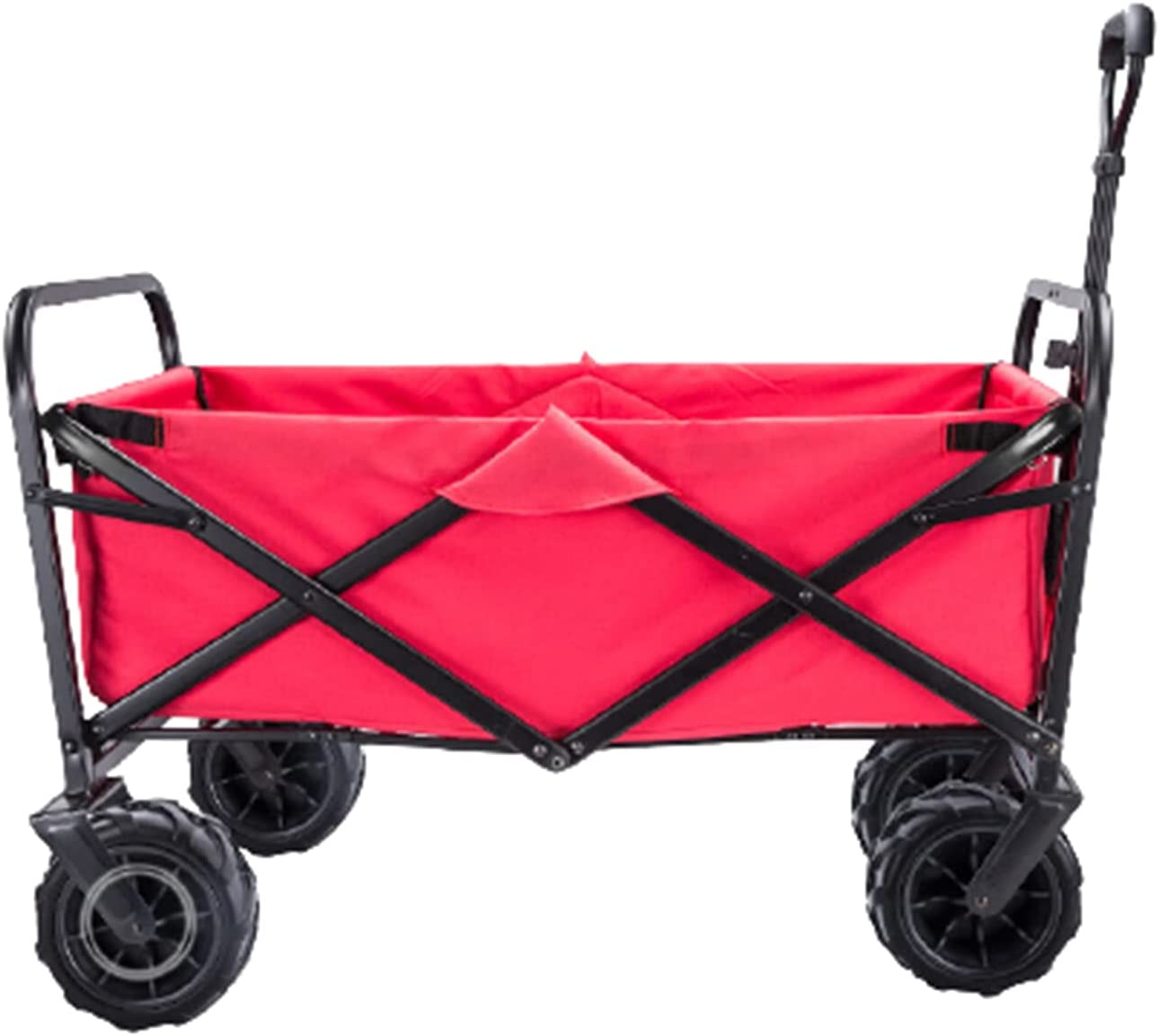 Garden Carts Folding Shopping Trolley Portable Four-Wheeled Trolley Camping Trolley,Red