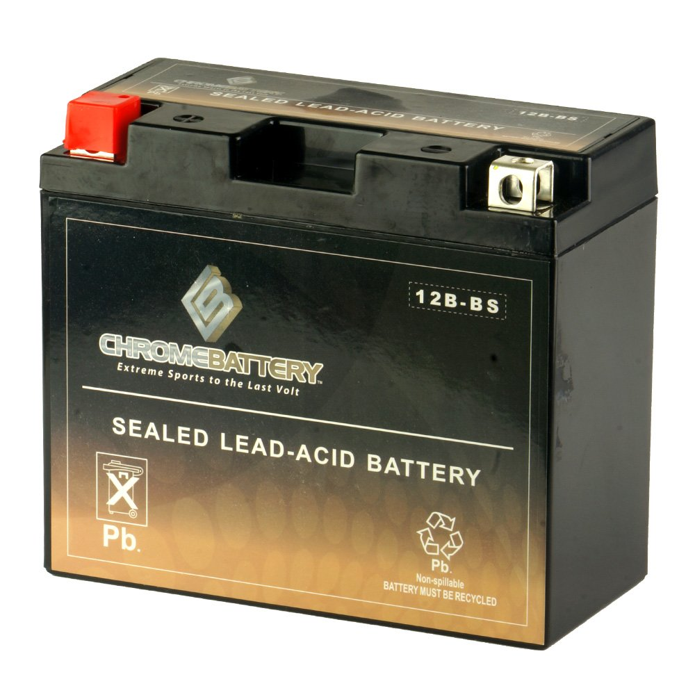 YT12B-BS Powersport Battery- Rechargeable Sealed AGM Battery- Replaces MTX12B-BS, ETX12B-BS, PTX12B-BS- Chrome Battery by CB CHROMEBATTERY