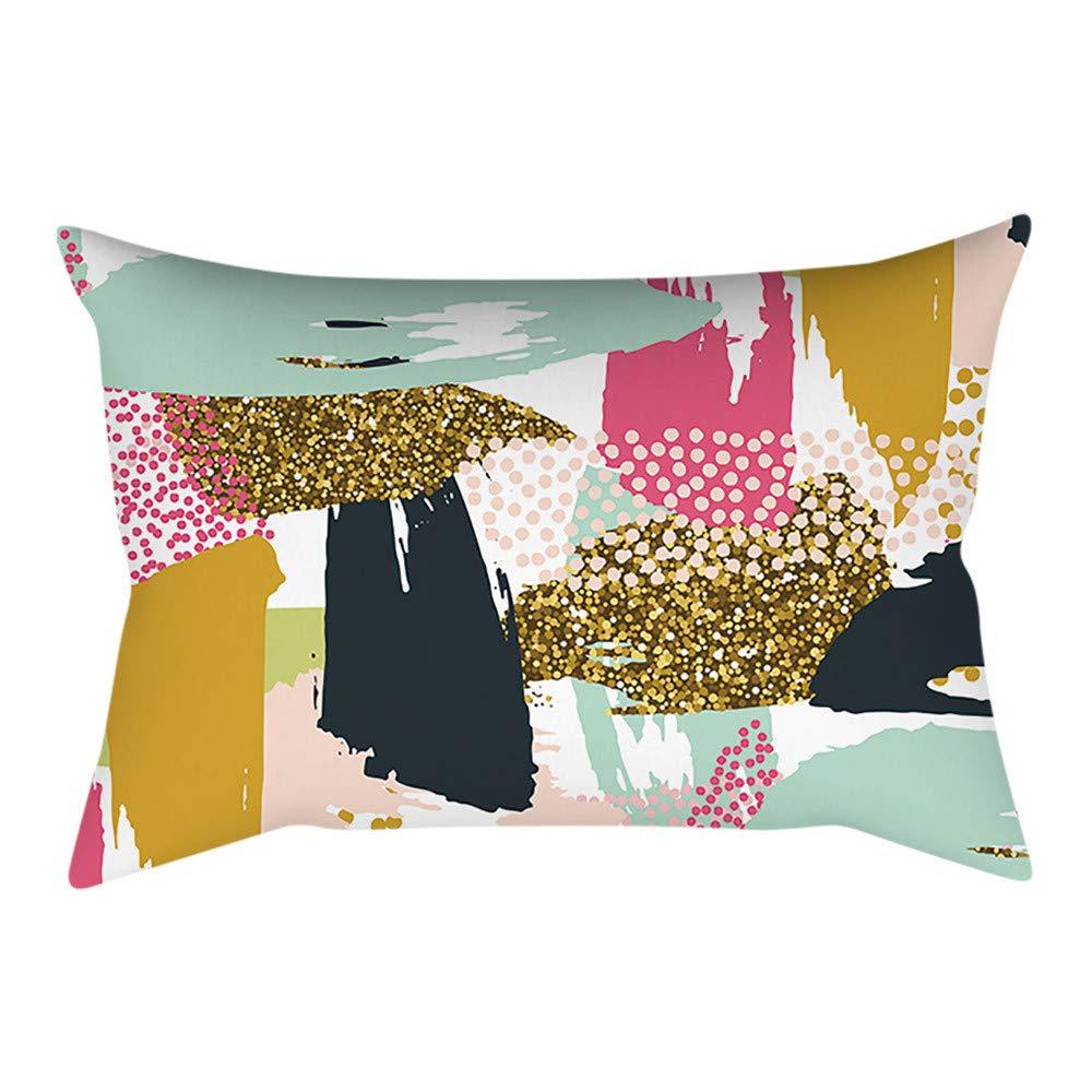 Pgojuni Rectangle Merry Christmas Pillow Case Sofa Waist Linen Blend Pillow Cover Cushion Cover Home Decor 1pc 30cmx50cm (E)
