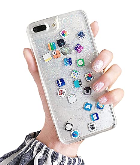 UnnFiko Liquid Glitter Case for iPhone 7, Hard Back Colorful Bling  Quicksand with ios icon Apple APP Shine Phone Case for iPhone 8 (Sand  Glitter,
