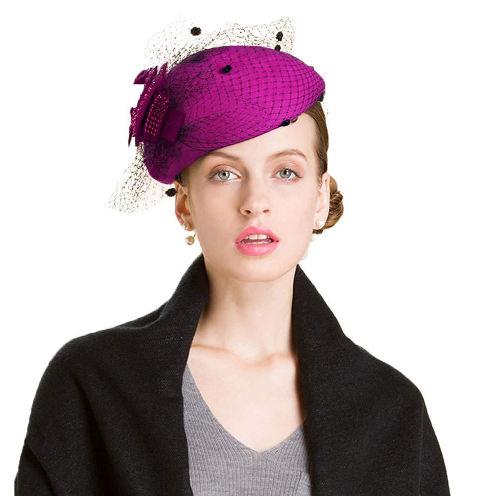 5cd275f0828 Fascinator Wool Felt Wedding Pillbox Hat Vintage Veil Netting Cocktail  Dress Cap Fuchsia at Amazon Women s Clothing store