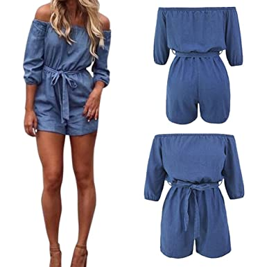 dd8a5e3e7e7 Lisli Women s Off Shoulder Half Sleeve Denim Short Romper Jumpsuit with Belt