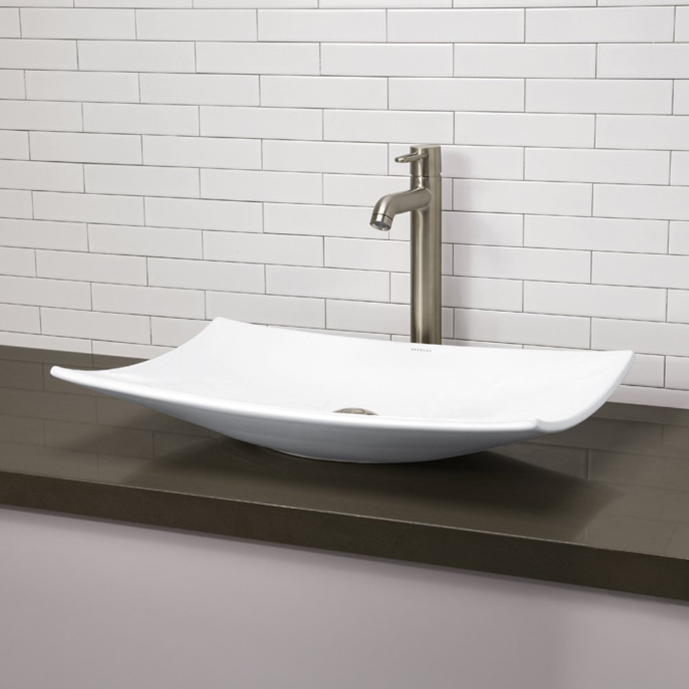 decolav cwh classically redefined curved rectangle vitreous  - decolav cwh classically redefined curved rectangle vitreous chinaabove counter lavatory sink white  vessel sinks  amazoncom