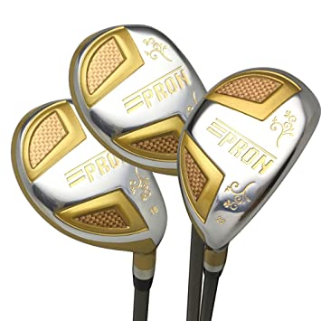 Japón Epron TRG híbridos Golf Club madera Set + Funda de piel (16,19,22 grado loft, Regular Flex, agarre estándar, pack de 3)