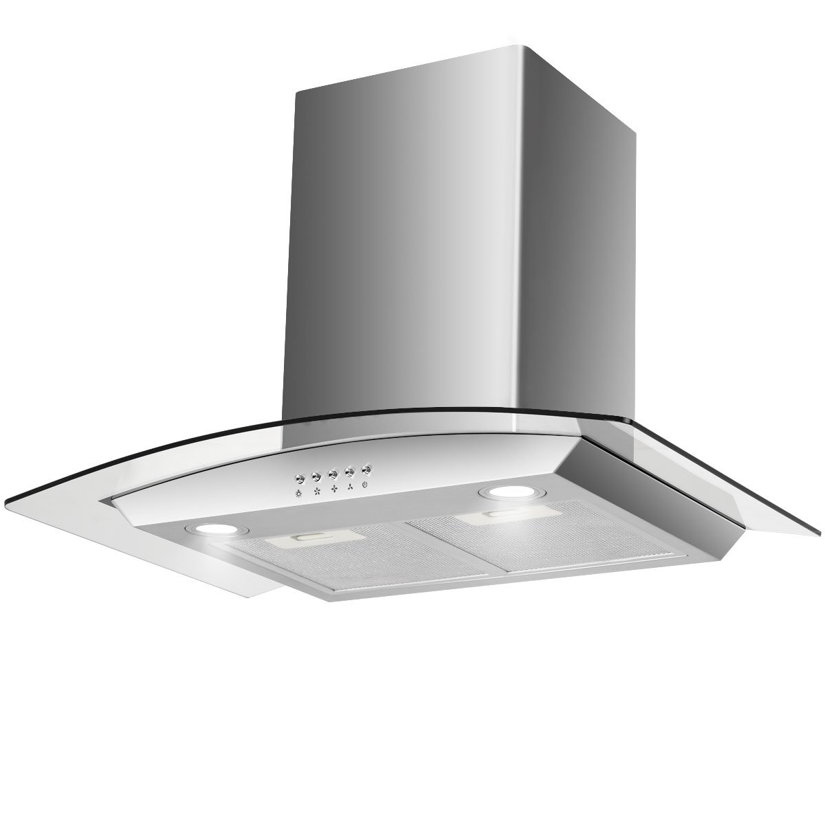"COSTWAY 30"" Wall Mount Range Hood Stainless Steel Kitchen Cooking Vent Fan with LED Light (Wall Mount & Tempered Glass)"