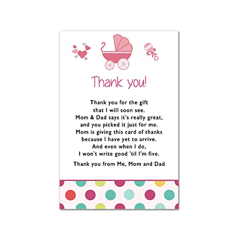 Amazon 30 Thank You Cards Stroller Baby Girl Shower