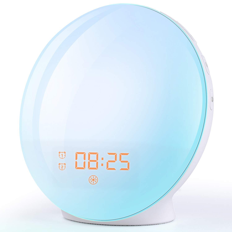 Wake Up Light Sunrise Alarm Clock, 7 Colors Bedside Night Light with Sunrise/Sunset Simulation, Dual Alarms, Snooze…