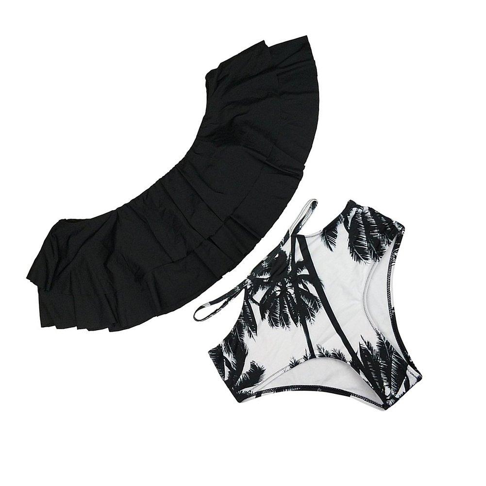 jianlanptt Off the Shoulder Two Piece用フリル付きロータスリーフビキニセットレディースガールズ B0765WP38X X-Large|ブラック ブラック X-Large