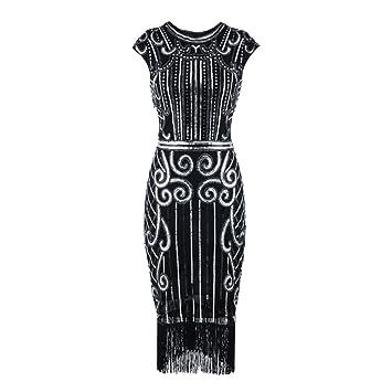 Mounter Vestido Bodycon para mujer, estilo vintage, con borlas de lentejuelas, estilo vintage