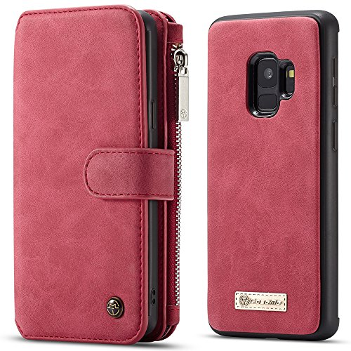 Samsung Galaxy S9/S9 Plus Leather Wallet Magnetic Phone Case Detachable Protective Folio Cover with Hand Strap for Mens Womens Boys Girls