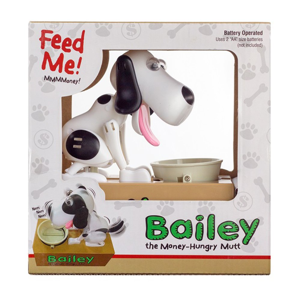 Amazon.com: Leading Edge Novelty Mechanical Bailey Money Eating Dog Bank    White: Toys U0026 Games
