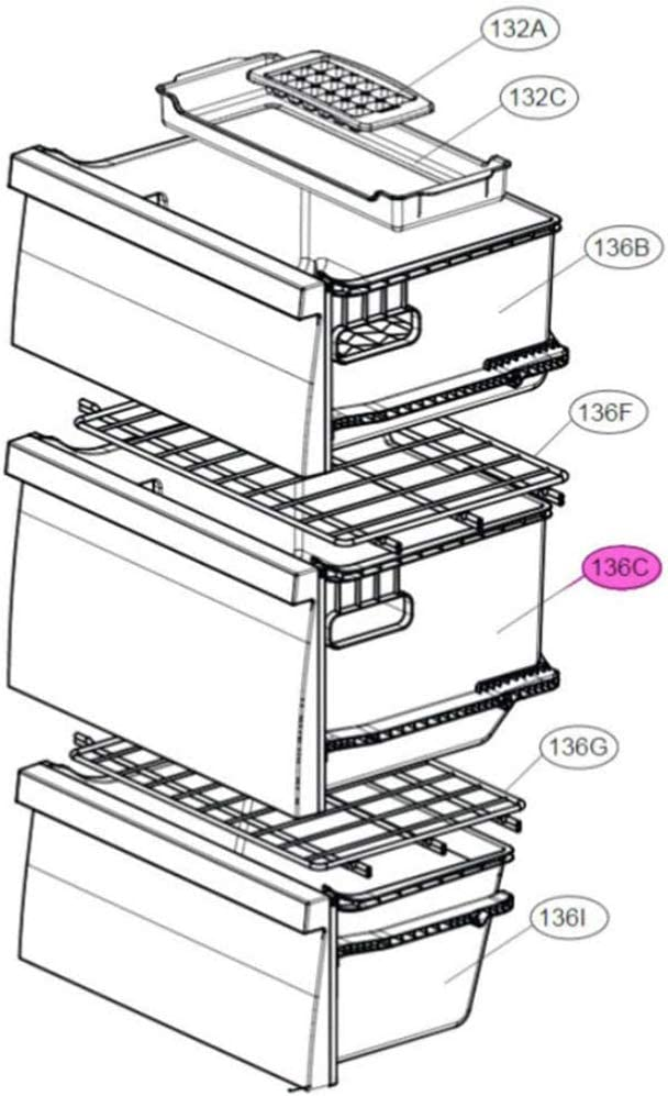 Caj/ón intermedio central de congelador GBB60NSFFS