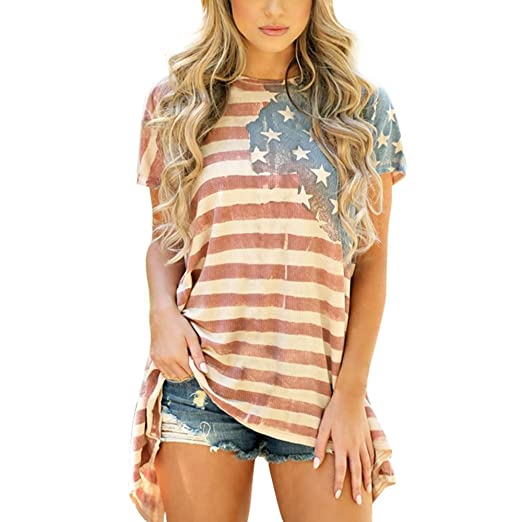 39a6b07c3d8bc1 Women Blouse,America Flag Short Sleeve T-Shirt Loose USA Patriotic Tops  Plus Size