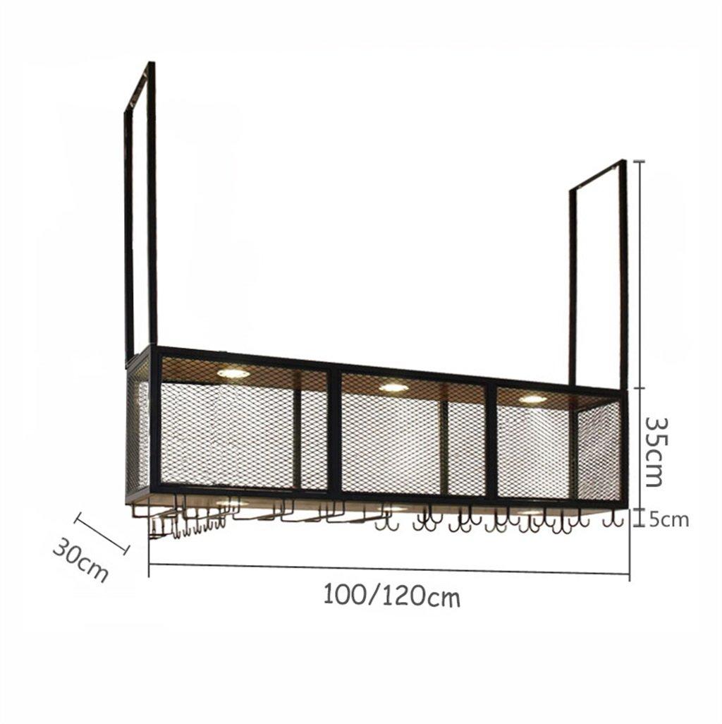 Estante de pared de madera retro Metal Rejilla de hierro Estante de techo vino colgantes Botella de vino colgante y marco de los vidrios Soporte de la pared ...