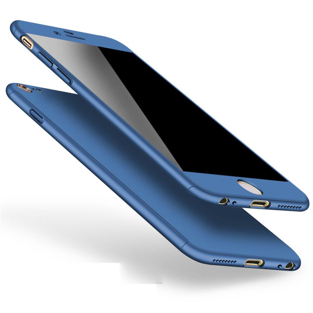 iPhone 6 Plus 6s Plus Hü lle 360 Grad Full Body Case Shockproof Protective Cover + Tempered Glas Schutzfolie Handyhü lle Backcover Hartschale Schutzhü lle Rü ckseite fü r iPhone 6/6S Plus Etui Schale (Gold) Adamark