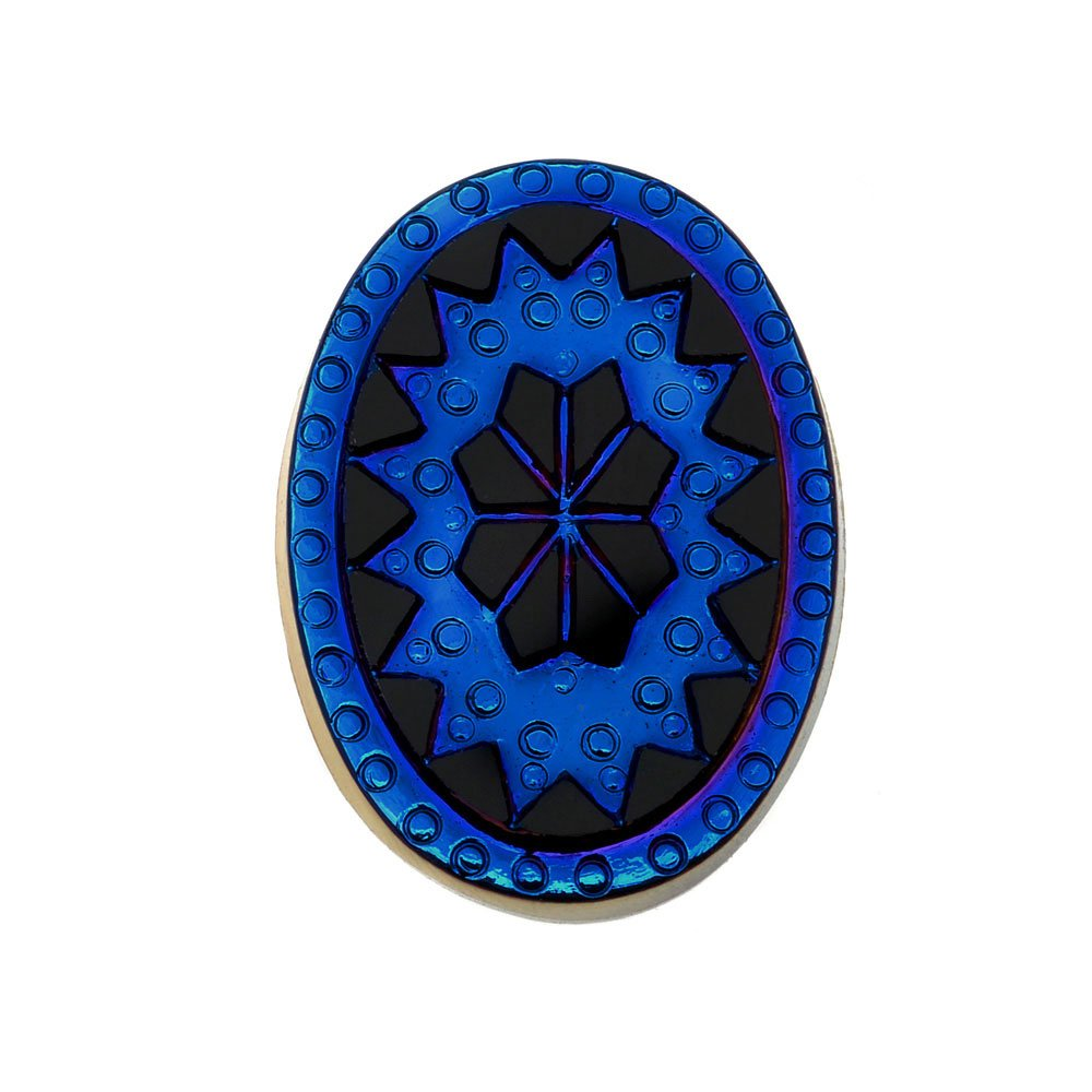 Beadaholique Czech Glass, Vintage Style Victorian Intaglio Oval Cabochons 25x18mm, 1 Piece, Scarab Blue on Jet