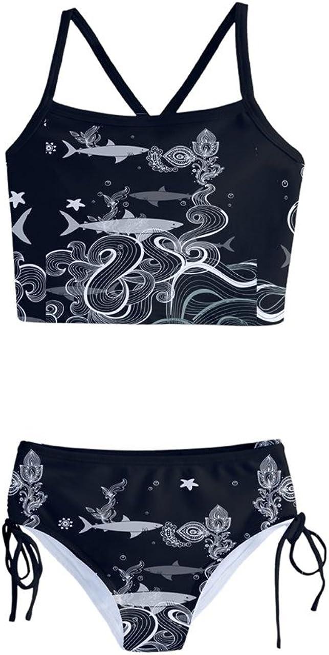PattyCandy Girls Funny Big Head Shark Ocean Pattern Tankini Swimsuit Bathing Suit for Little Girls Size 2-16