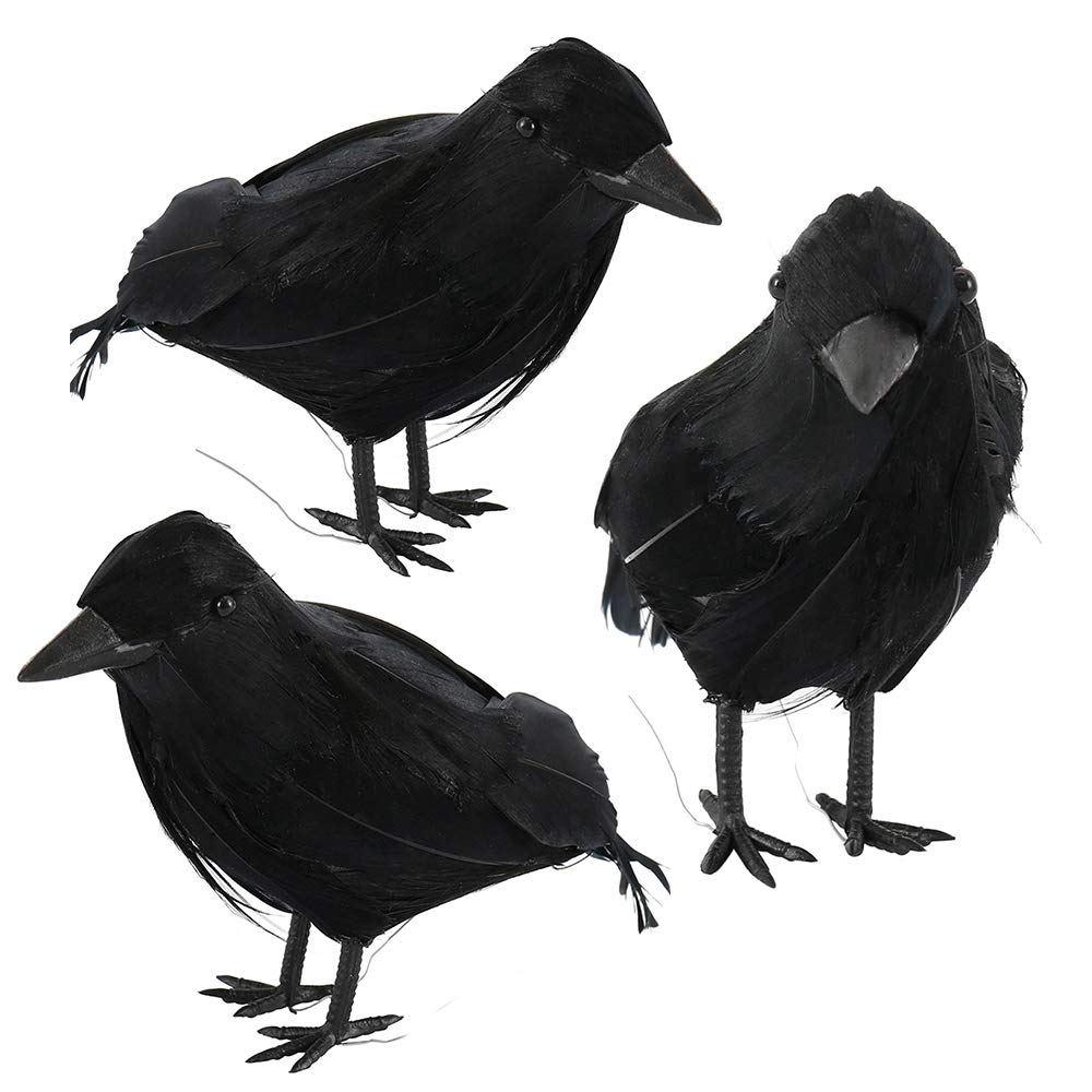 bennyuesdfd Halloween Props Black Feather Crows Artificial Birds Ravens Ornaments Realistic Looking Halloween Decoration Indoor Outdoor