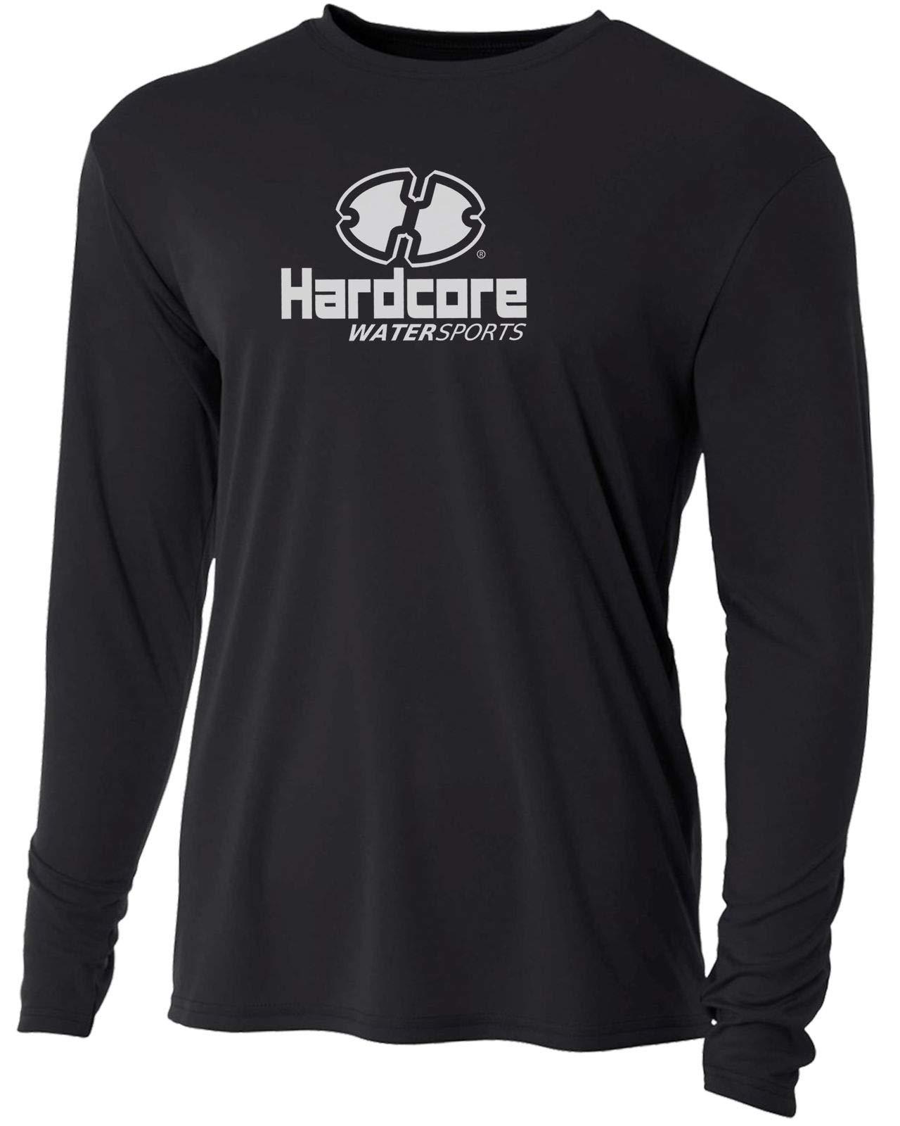 Men's Long Sleeve Loose Fit Rash Guard Surf Shirt Water Sports Swimwear Black by Hardcore Water Sports