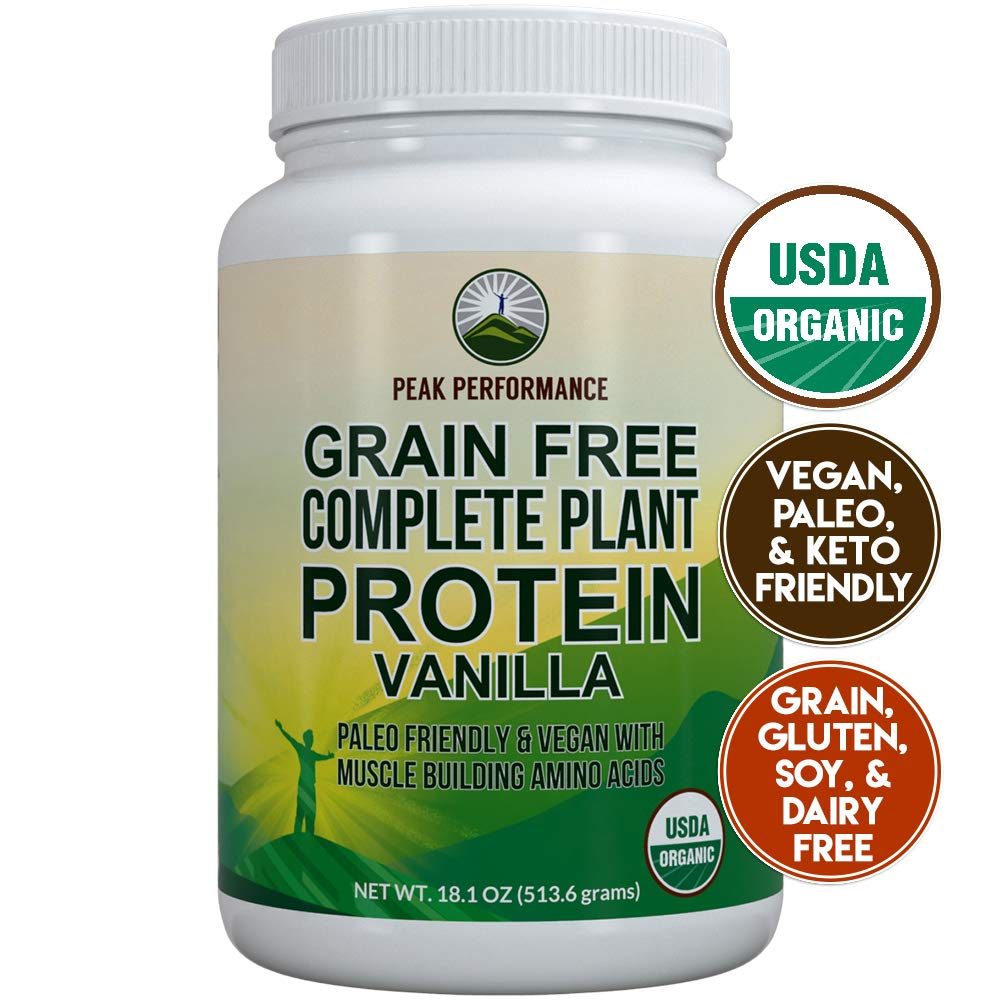 Organic Paleo Grain Free Plant Based Protein Powder Complete Raw Organic Vegan Protein Powder. Amazing Amino Acid Profile and Less Than 1g of Sugar. Hemp Protein Powder, Pea Protein Powder Vanilla by Peak Performance Coffee