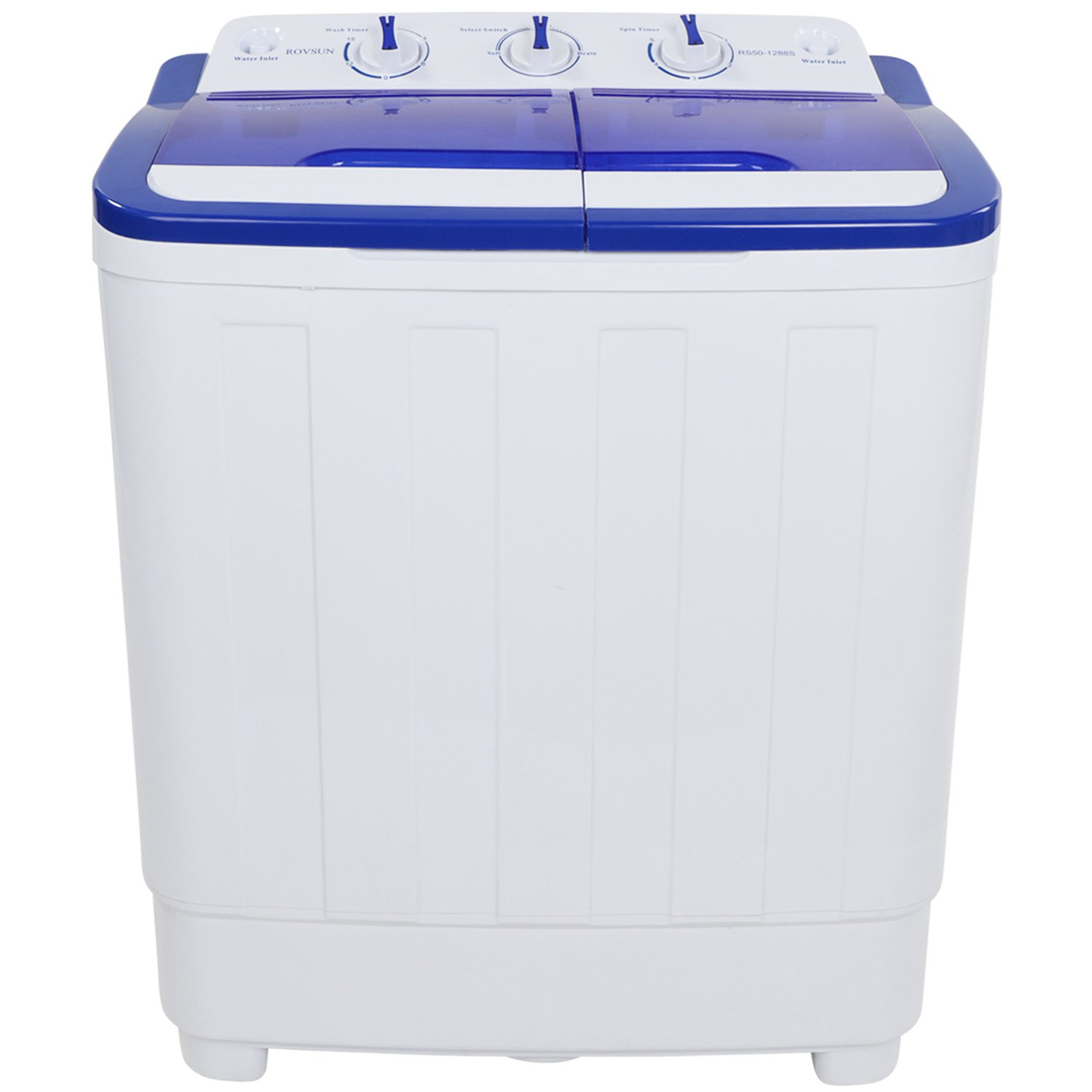 ROVSUN Portable Washing Machine with Twin Tub Electric Compact Mini Washer, 16.6LBS Capacity Energy/Space Saving, Laundry Spin Cycle w/ Hose, Perfect for Home RV Camping Dorms College
