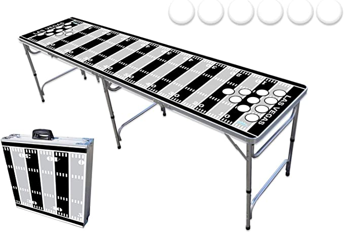 8-Foot Professional Beer Pong Table w//Optional Cup Holes Green Bay Football Field Graphic