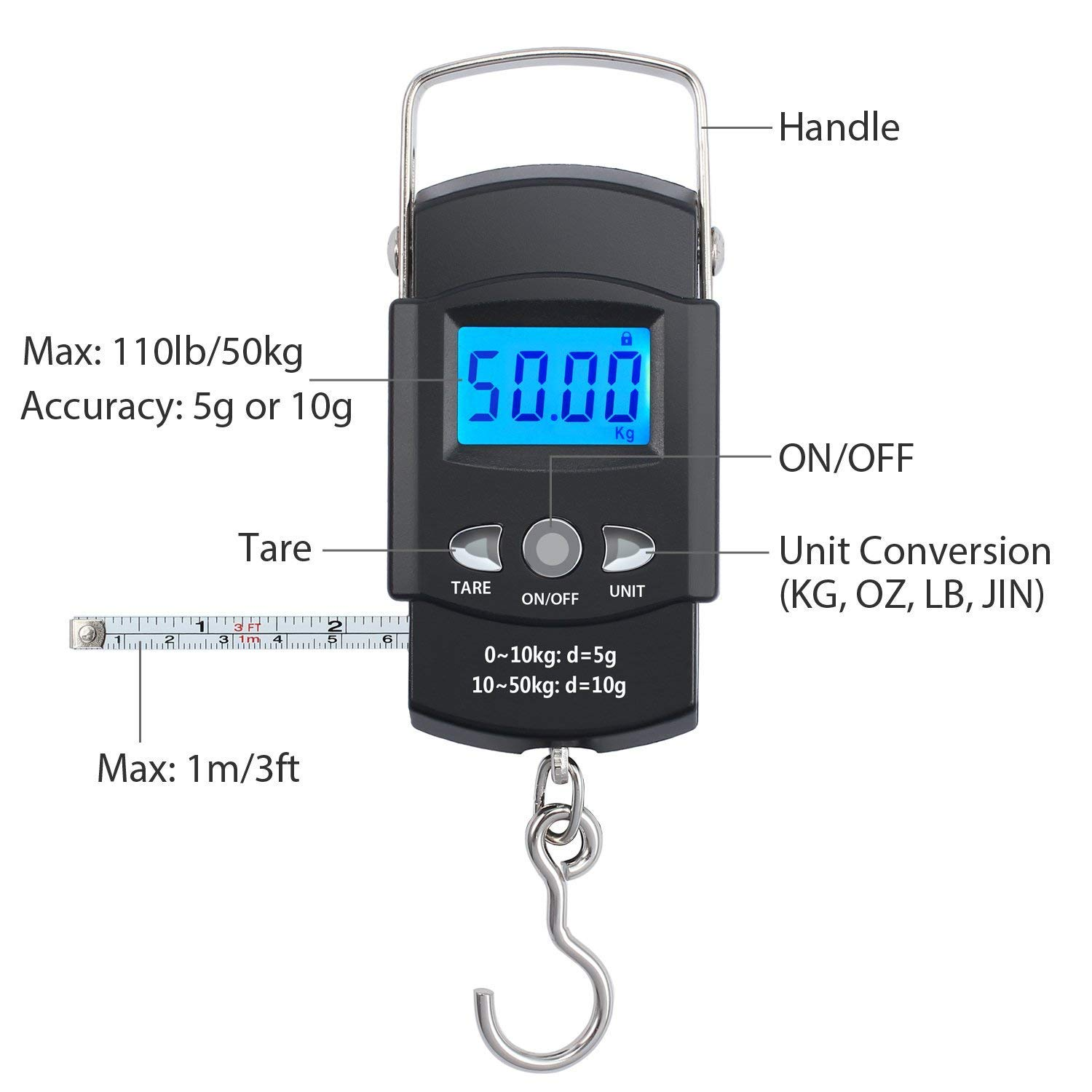 1a79ad44056f Tung Hsing Lon Fishing Scales Electronic Digital Postal Weighing Scale  Balance with Measure Tape 110lb/50kg, 2 pcs AAA Batteries Included