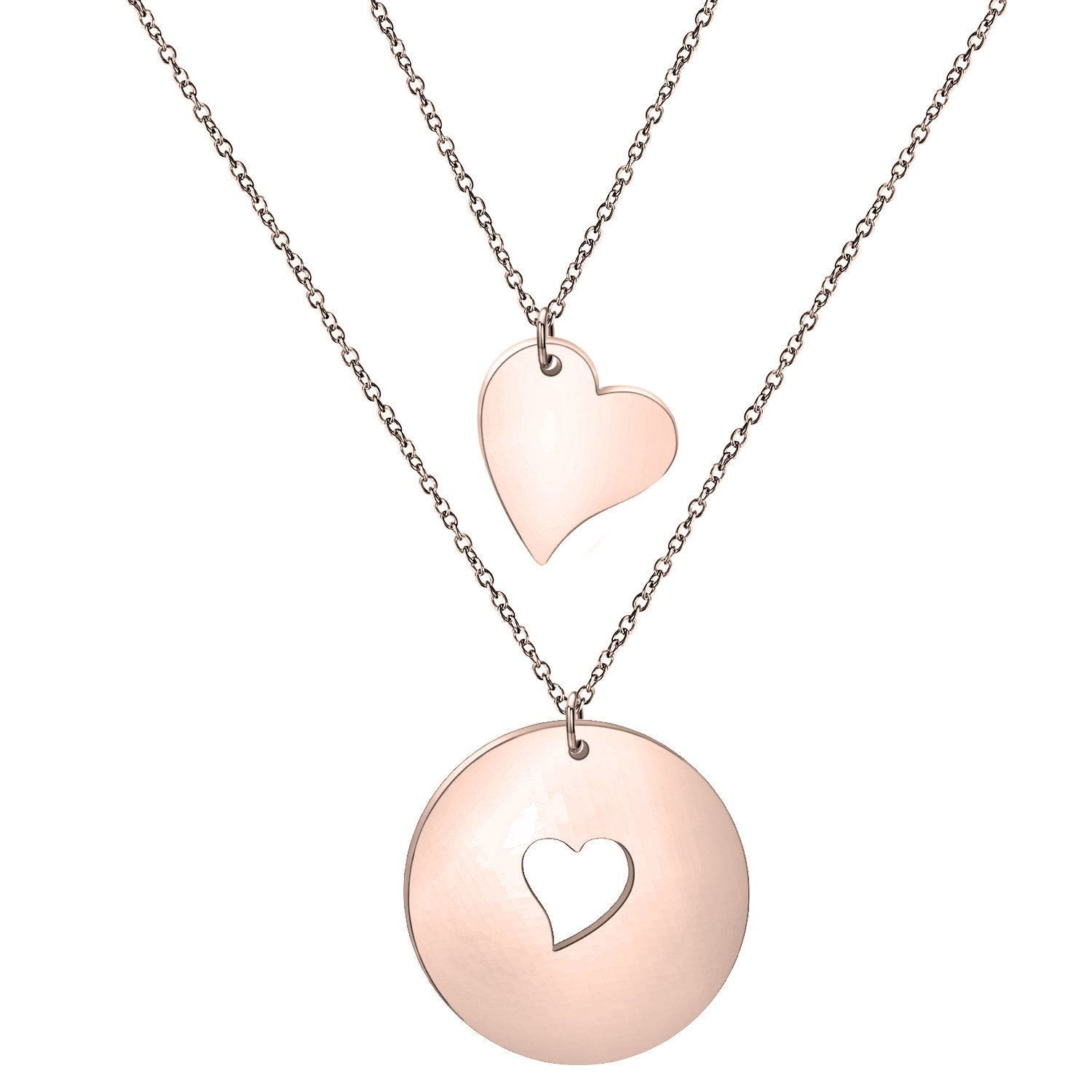 Zuo Bao Mother and Daughters Necklace Set- Mom and Daughter Jewelry- Gift for Mom- Mother's Day Gift (Rose Gold-1 daughter)
