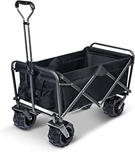 TOOCA Heavy Duty Collapsible Folding Wagon Cart Outdoor Beach Wagon Garden Cart with Wide All Terrain Universal Wheels Adjustable Handle 265 Pound Capacity for Grocery Camping Gardening Beach, Black