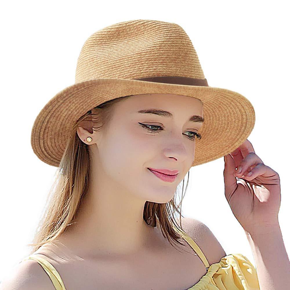 6bd28952b Summer Straw Hat for Women - UV Protection Classic Fedora Havana Hat Cute  Beach Panama Wide Round Brim Sun Hats, Adjustable Structured Floppy Cuban  ...