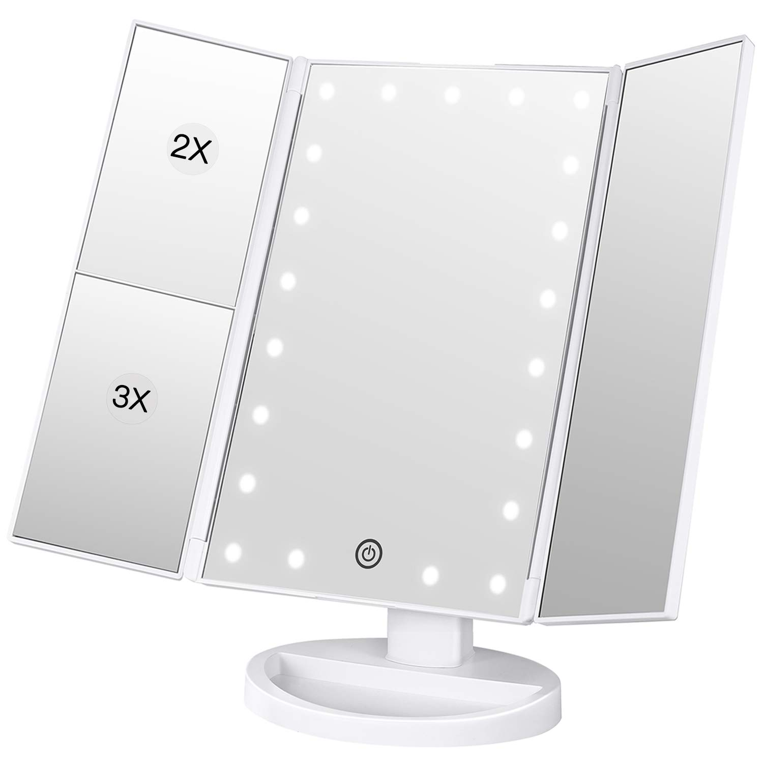 BESTOPE Makeup Vanity Mirror with 3x/2x Magnification,Trifold Mirror with 21 Led Lights,Touch Screen, 180° Adjustable Rotation,Dual Power Supply, Countertop Cosmetic Mirror (Black) BESTOPE CA