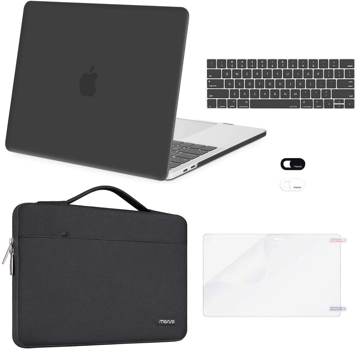 MOSISO Compatible with MacBook Pro 13 inch Case 2016-2020 Release A2289 A2251 A2159 A1989 A1706 A1708, Plastic Hard Shell Case&Sleeve Bag&Keyboard Skin&Webcam Cover&Screen Protector, Space Gray