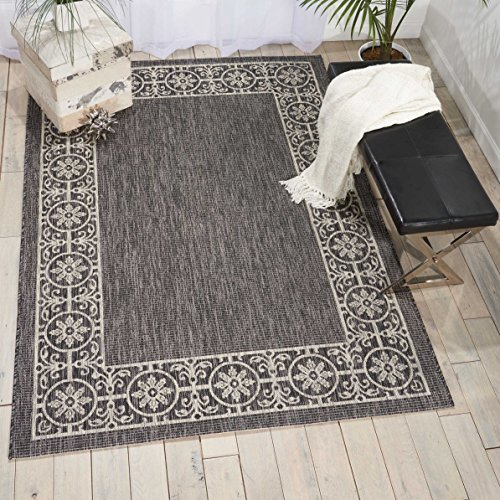 Nourison Garden Party GRD03 Charcoal Indoor/Outdoor Area Rug 3 Feet 6 Inches by 5 Feet 6 Inches, 3'6