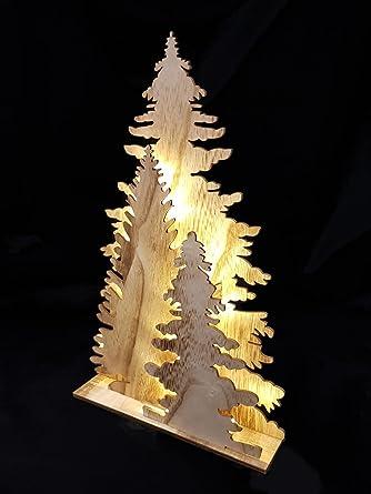 Weihnachtsdeko Holz Fensterdeko Tannenbaum 45 cm Tisch Deko Leuchte mit 15 LED