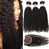 Cheap Flady Brazilian Curly Hair with Closure 8a Unprocessed Brazilian Virgin Hair 3 Bundles with Free Part Closure Natural Black Human Hair Bundles With Closure (14 16 18+12inch)