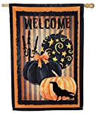 Evergreen Spooky Halloween Welcome Suede House Flag, 29 x 43 inches For Sale