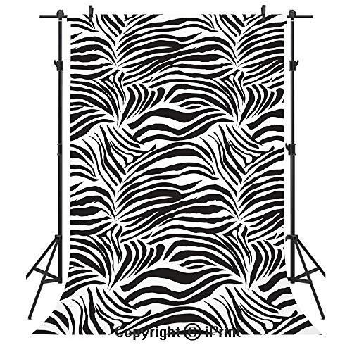 Zebra Print Photography Backdrops,Striped Zebra Animal Print Nature Wildlife Inspired Fashion Simple Illustration,Birthday Party Seamless Photo Studio Booth Background Banner 6x9ft,Black White