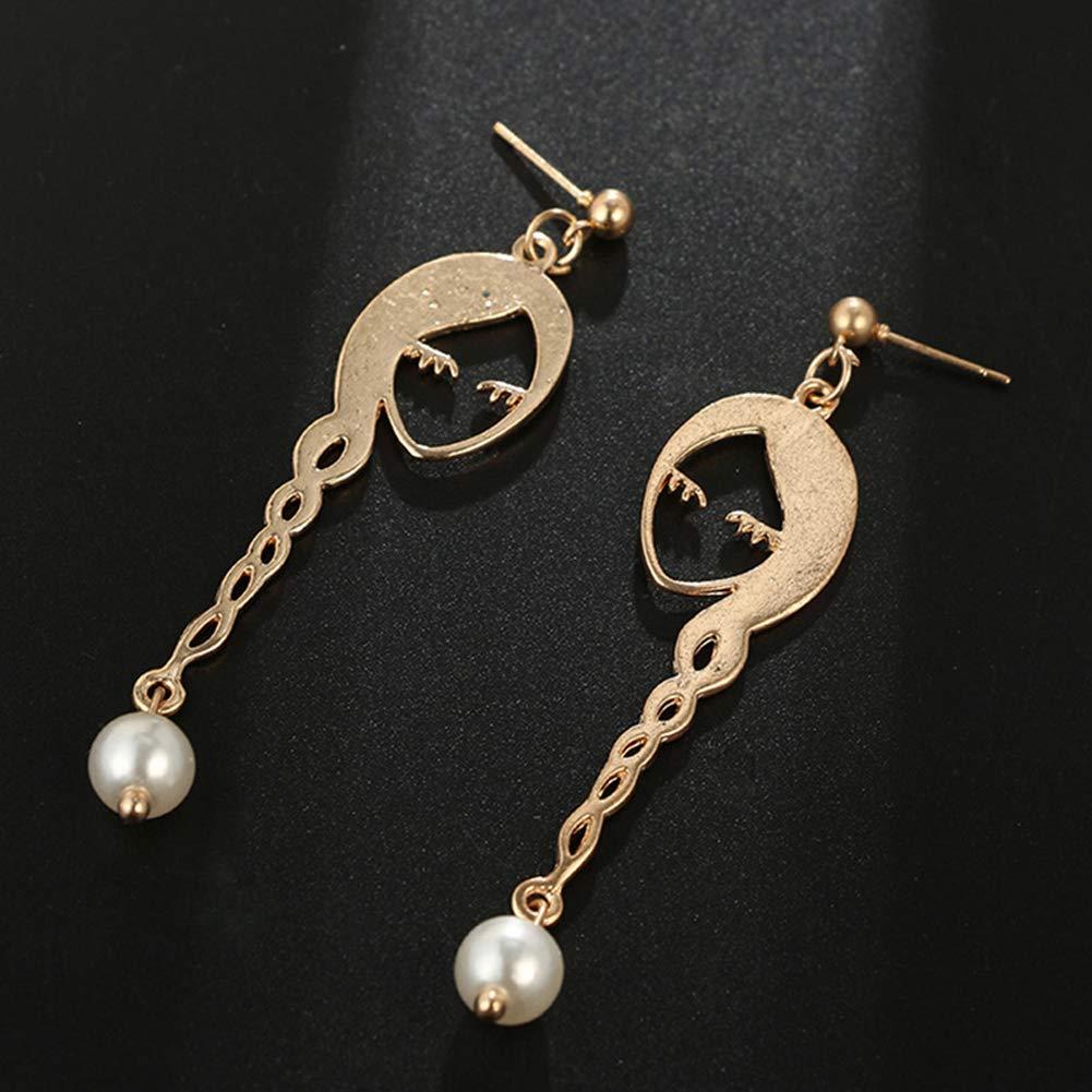 Mosichi Fashion Earrings Girl Face Long Hair Faux Pearl Earrings Hollow Women Party Jewelry