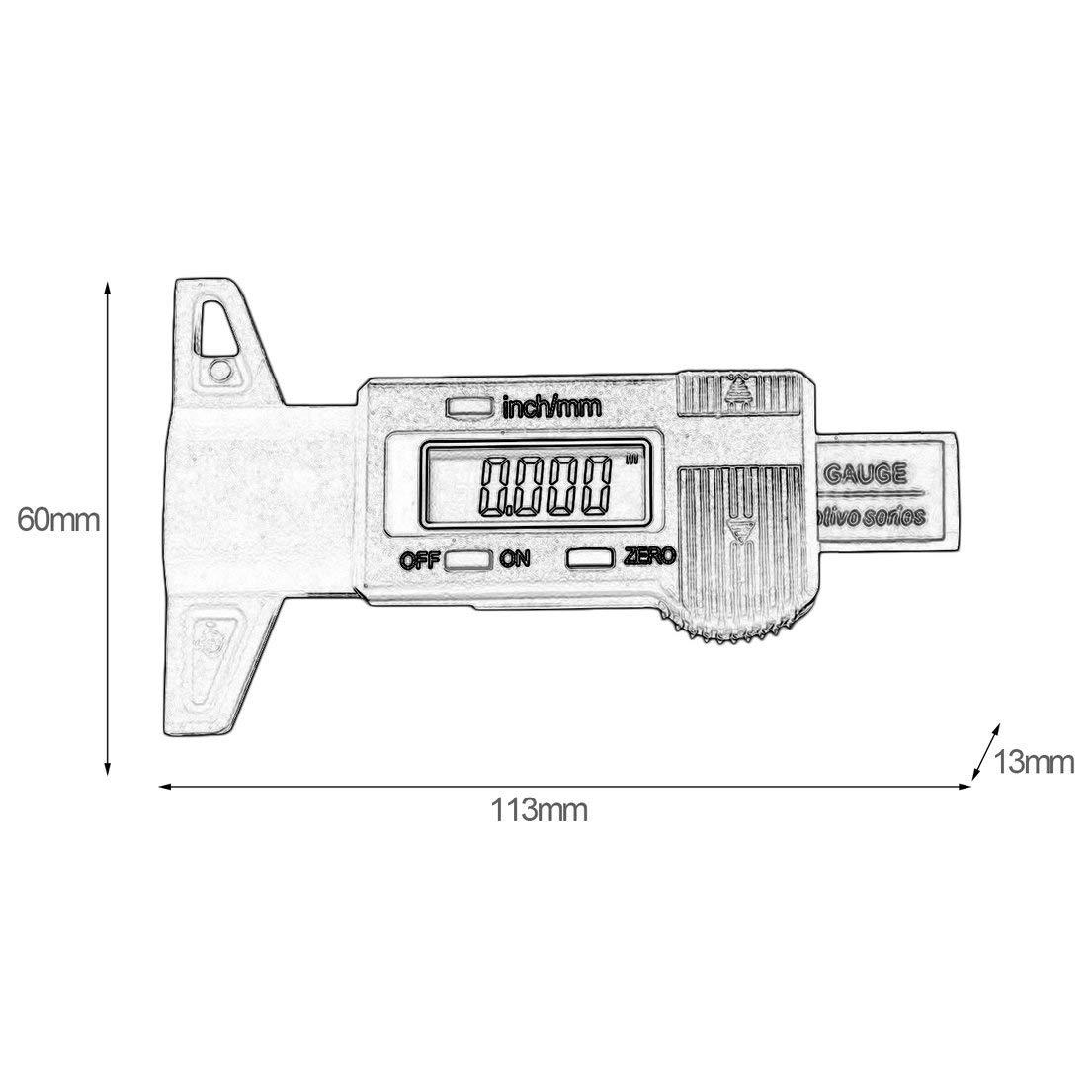 MagiDeal Digital Tire Tread Depth Gauge LCD Display Digital Depth Gauge Tyre Tire Tread Brake Pad Shoe Wear 0-25mm