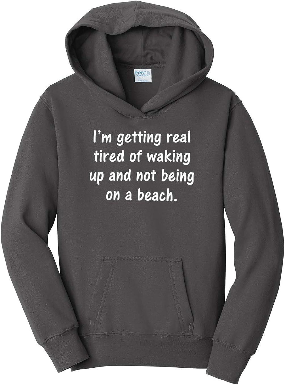 Tenacitee Girls Youth Waking Up on a Beach Hooded Sweatshirt X-Large Charcoal